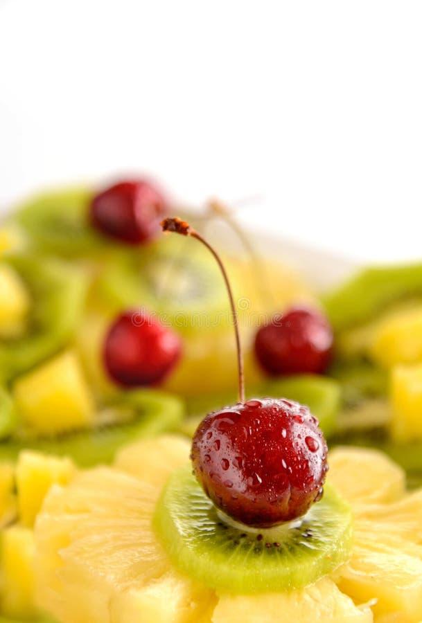 Salada de fruto com cereja Alimento biológico fotos de stock royalty free