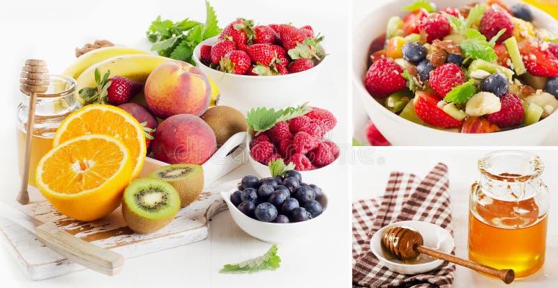 Salada de frutos frescos com mel e bagas fotografia de stock