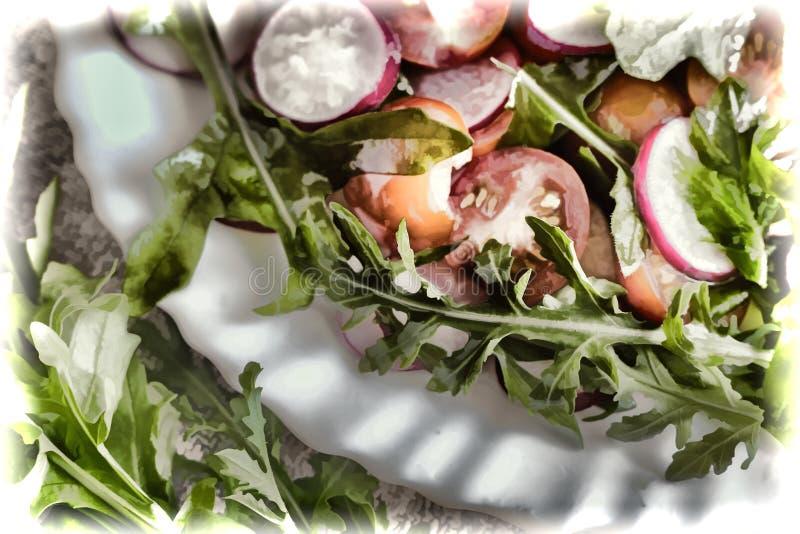 Salada de legumes frescos e de ervas na tabela imagem de stock