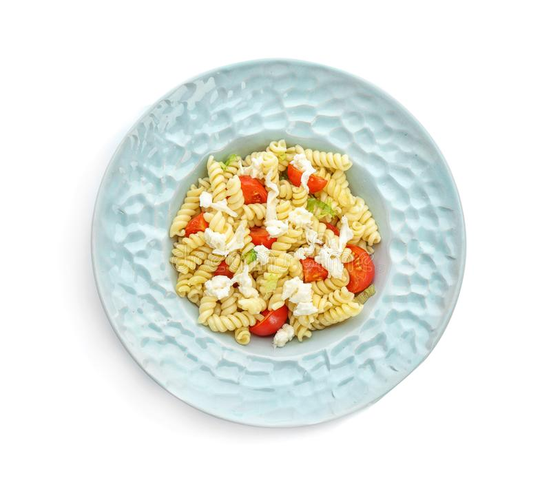 Salada de massa saboroso com tomates e queijo imagens de stock royalty free