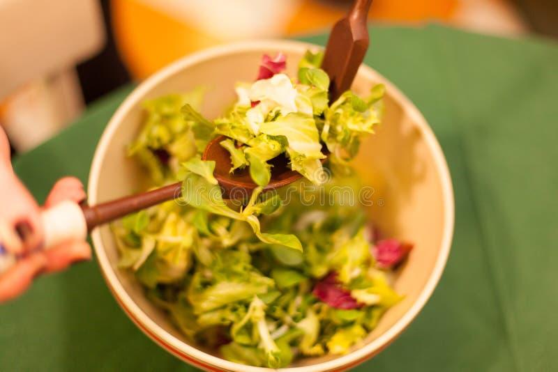 Salada de mistura da mulher imagem de stock royalty free