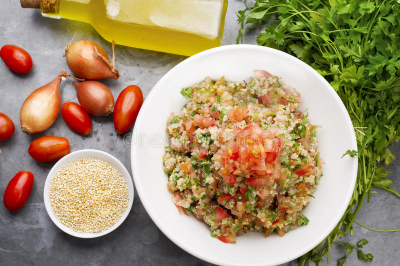 Salada deliciosa do quinoa do vegetariano com salsa, tomate e cebola imagens de stock royalty free