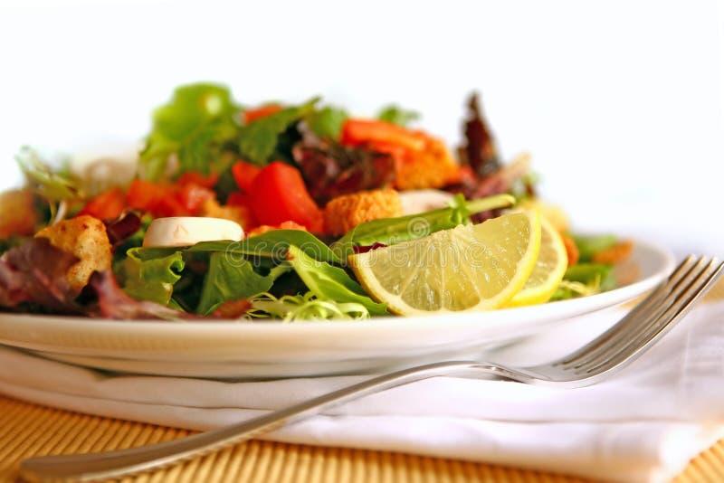 Salada deliciosa saudável em uma placa com profundidade elevada foto de stock royalty free