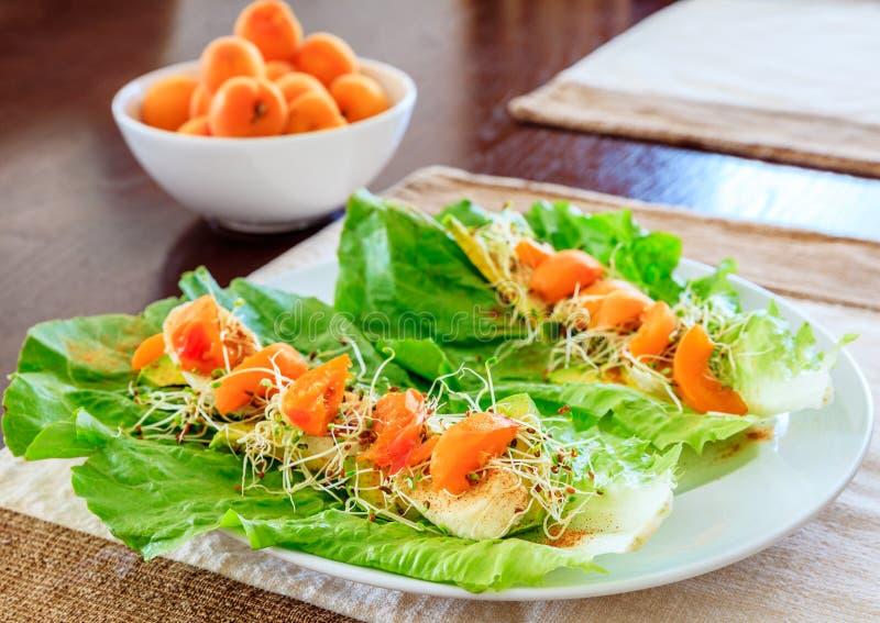 Salada do abricó e da alface imagens de stock royalty free