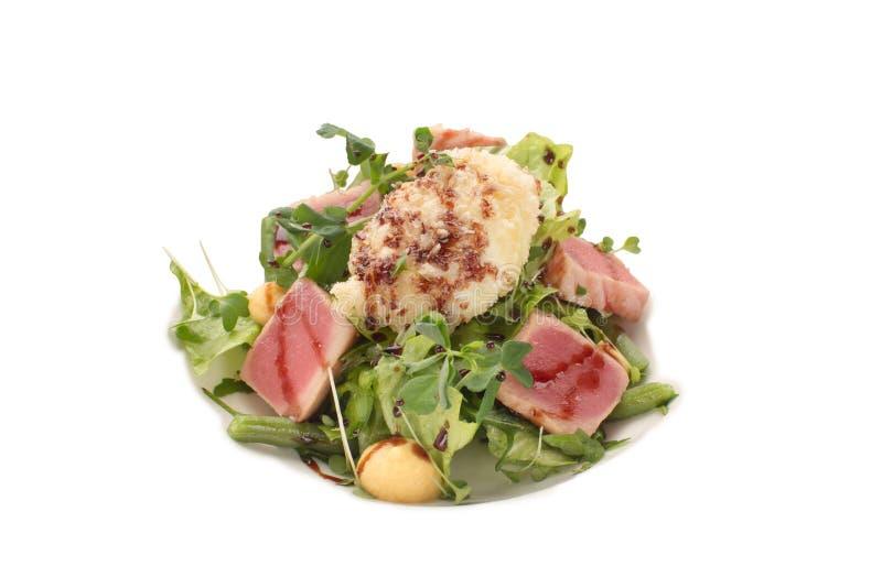 Salada do atum, dos verdes e do close-up dos feijões verdes imagens de stock