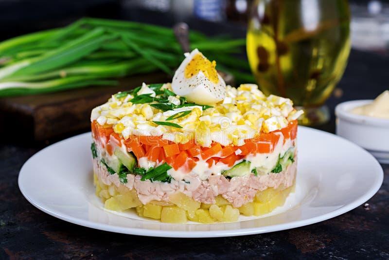 Salada do fígado de bacalhau com ovos, pepinos, batatas, cebola verde fotos de stock royalty free