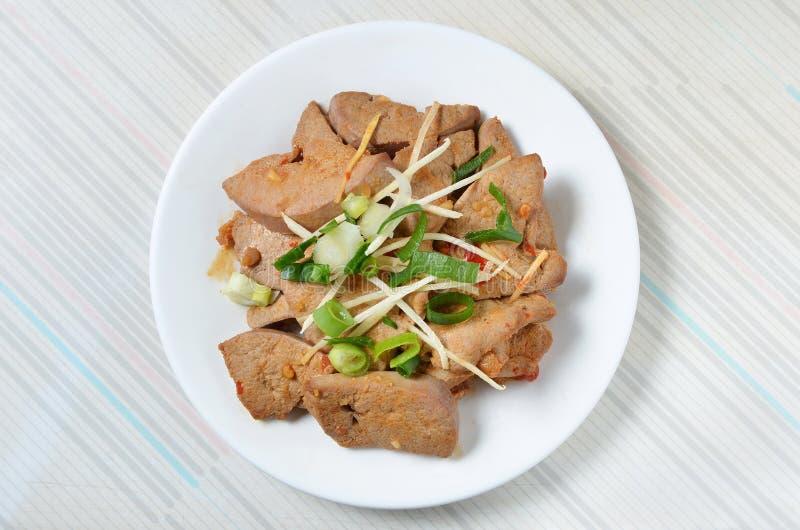 salada do f?gado da carne de porco fotografia de stock