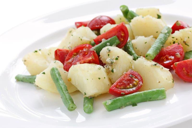 Salada do feijão verde do tomate da batata imagem de stock