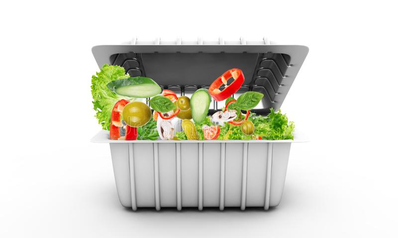 A salada do legume fresco em um plástico leva embora a bacia isolada no branco ilustração do vetor