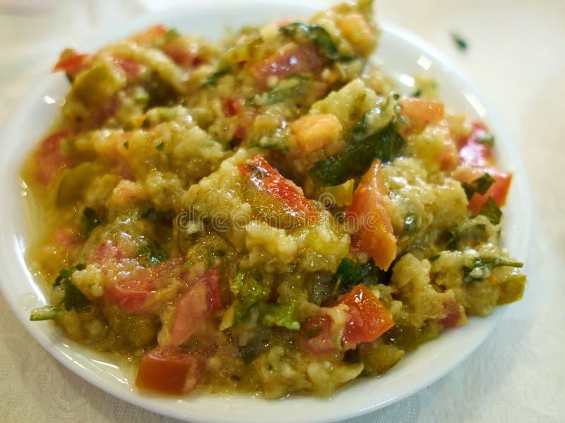 Salada do mergulho da beringela da beringela - meze mediterrâneo imagens de stock