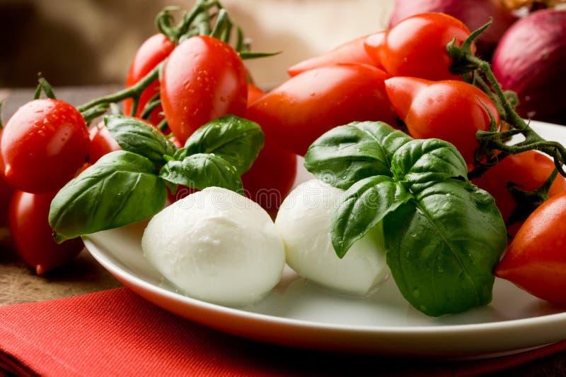 Salada do Mozzarella de Tomatoe imagens de stock royalty free