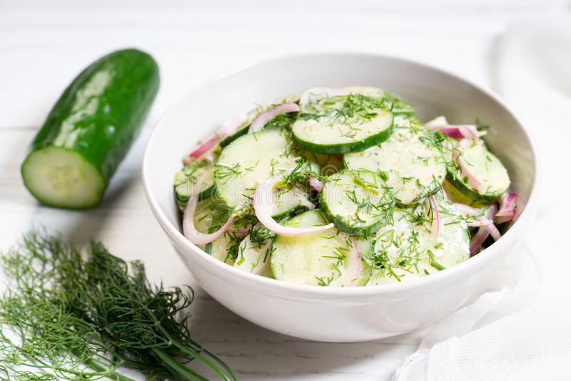 Salada do pepino e da cebola vermelha fotos de stock