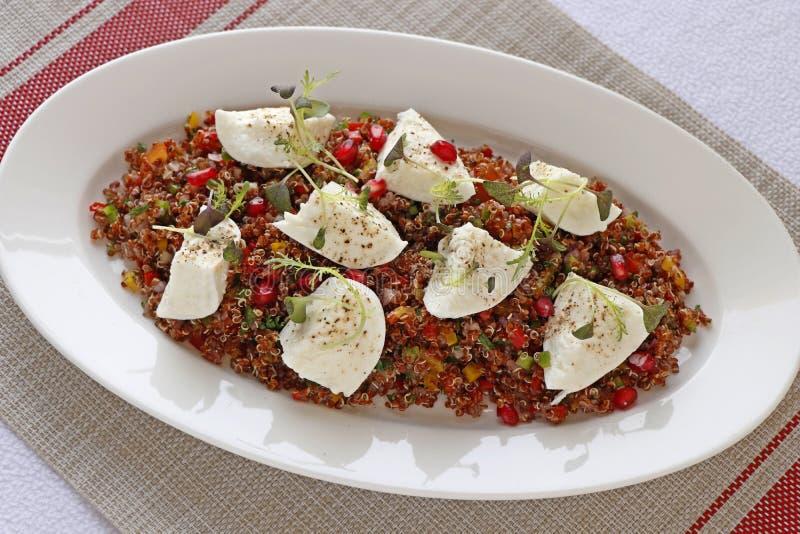 Salada do Quinoa com mozzarella do búfalo em uma placa branca imagem de stock royalty free