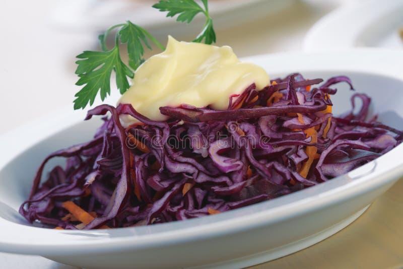 Salada do repolho vermelho com maionese. fotografia de stock