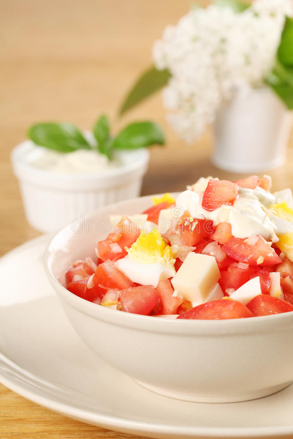Salada do tomate com queijo e ovos fotografia de stock royalty free