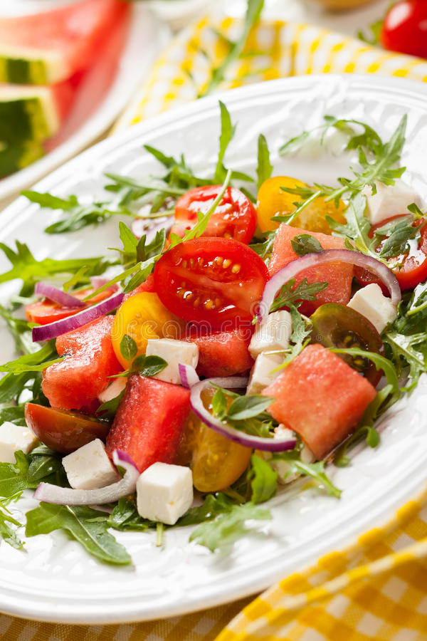 Salada do tomate e da melancia imagem de stock royalty free