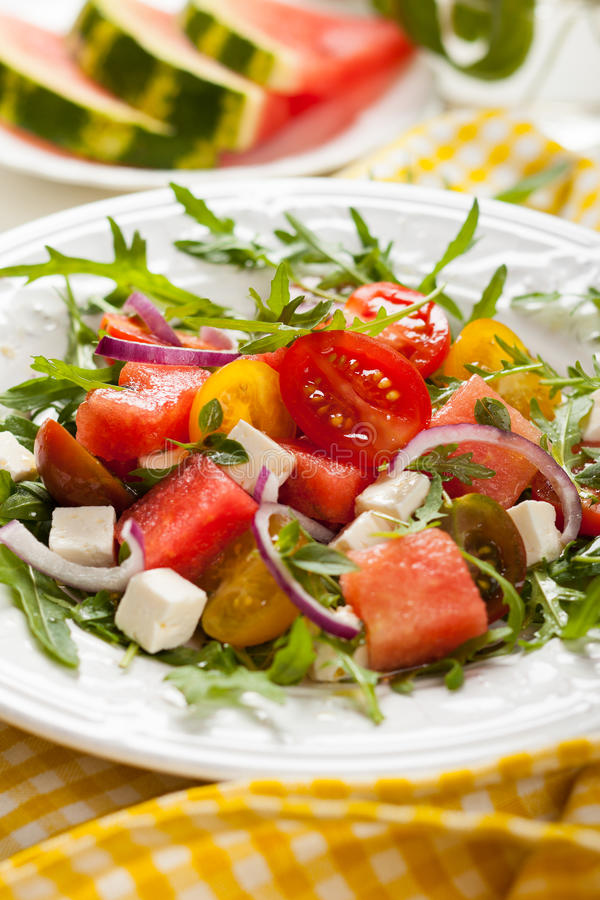 Salada do tomate e da melancia fotos de stock royalty free