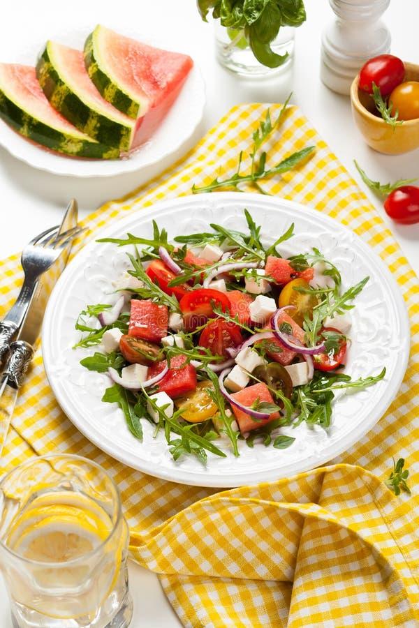 Salada do tomate e da melancia foto de stock royalty free