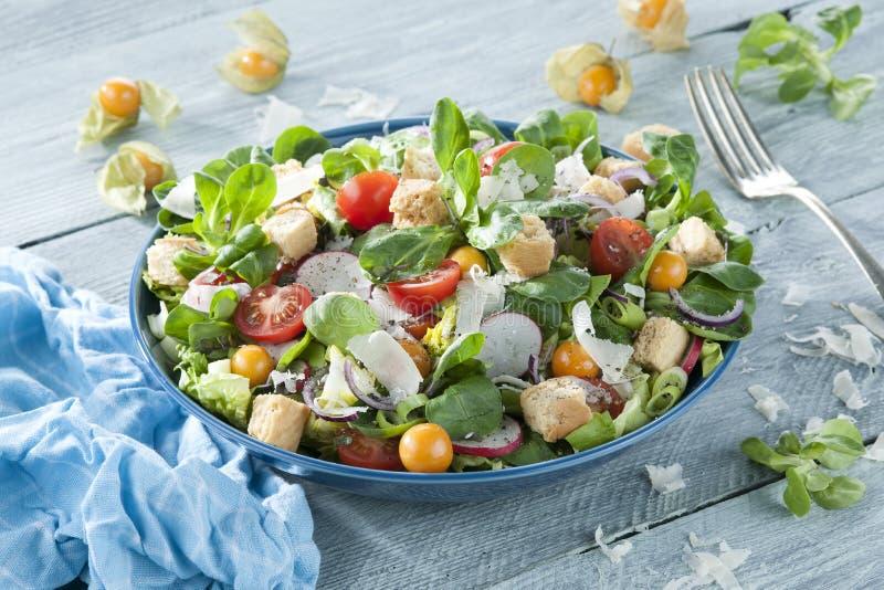 Salada do verão de Resh na tabela de madeira imagens de stock royalty free
