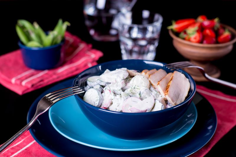 Salada dos sadishes da mola no molho do iogurte fotos de stock royalty free