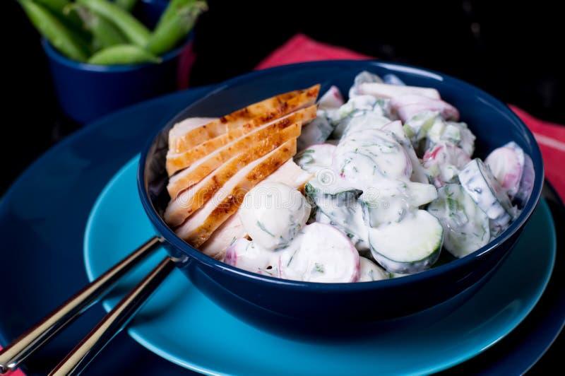 Salada dos sadishes da mola no molho do iogurte foto de stock