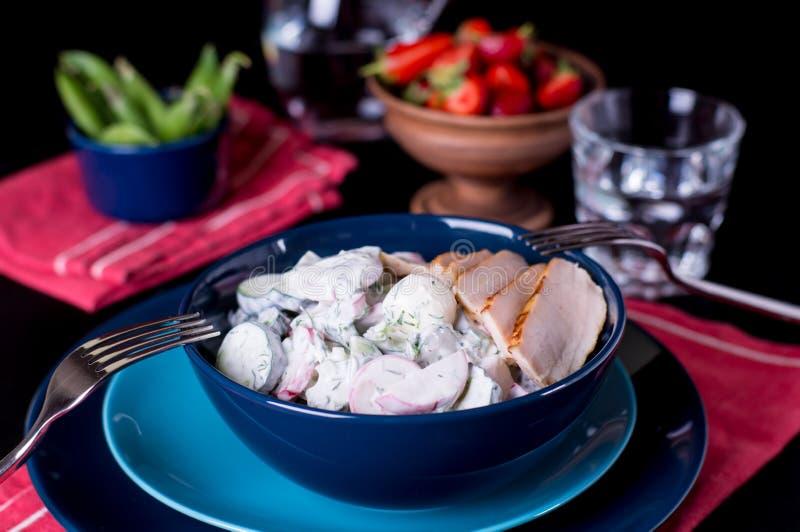 Salada dos sadishes da mola no molho do iogurte fotos de stock