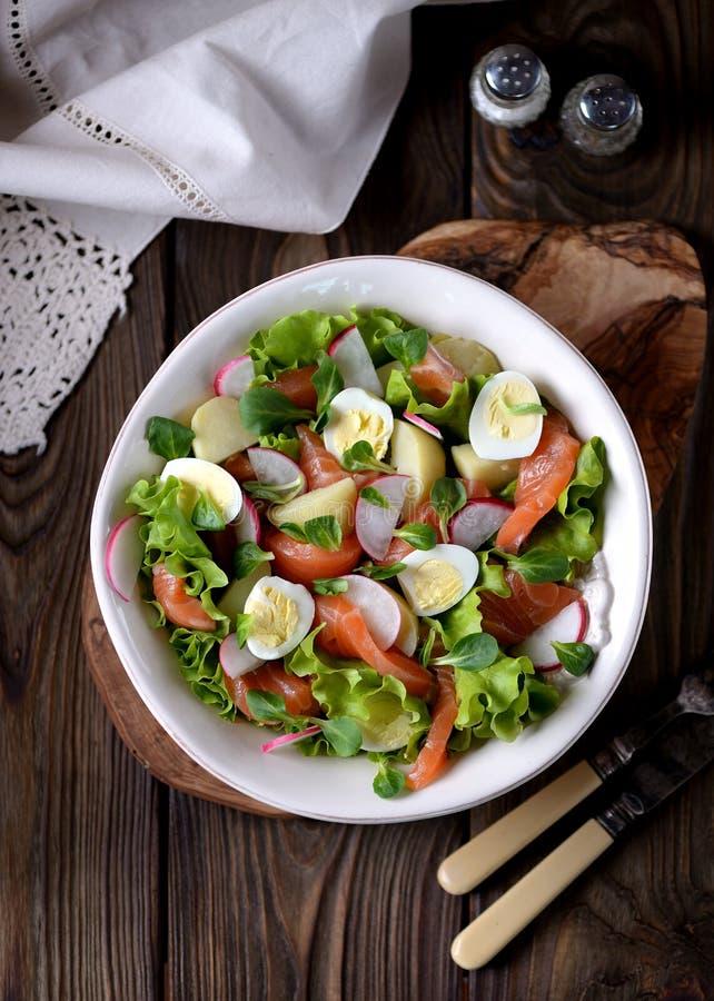 Salada dos salmões ligeiramente salgados, das batatas fervidas, dos ovos de codorniz com pepino e do rabanete fotos de stock royalty free