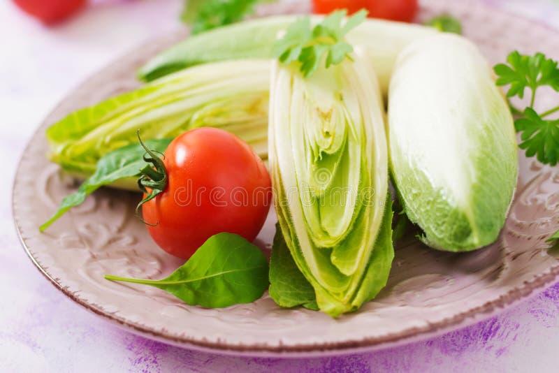 Salada e tomate frescos e saudáveis da endívia da chicória em uma placa imagens de stock royalty free