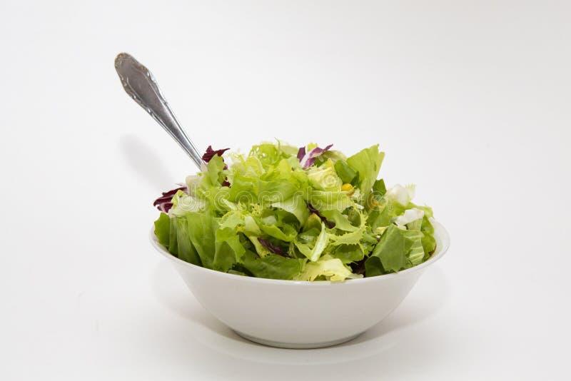 Salada feita fresca em um fundo cinzento fotos de stock royalty free