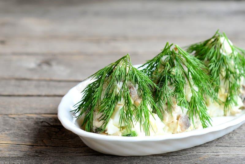 Salada feita no formulário da árvore de Natal Salada com carne fervida, os cogumelos fritados, o ovo, os pepinos e o aneto Fundo  fotografia de stock