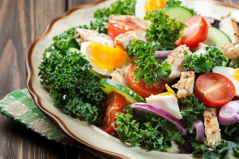 Download Salada Fresca Com Galinha, Tomates, Ovos E Alface Na Placa Foto de Stock - Imagem de jantar, cozinhado: 65575528
