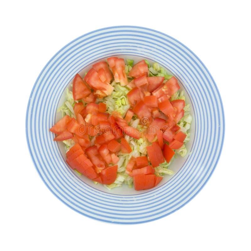 Salada fresca da alface e do tomate na bacia listrada azul foto de stock royalty free