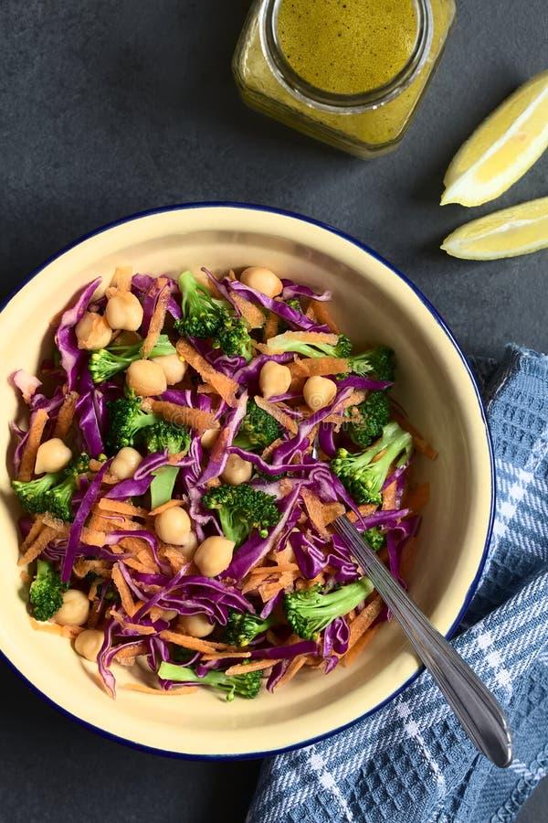 Salada fresca da couve vermelha, do grão-de-bico, da cenoura e dos brócolis fotos de stock