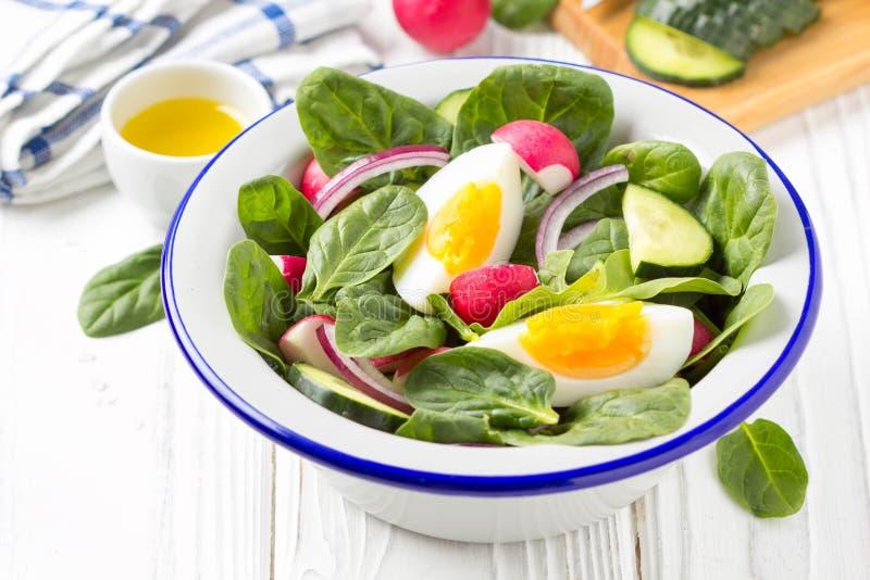 Salada fresca da mola com espinafres, rabanete, pepino e ovo Almoço delicioso, alimento saudável, vegetais do verão Na bacia no b imagens de stock