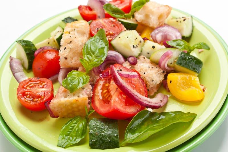 Salada fresca de Panzanella do tomate e do pão imagens de stock royalty free