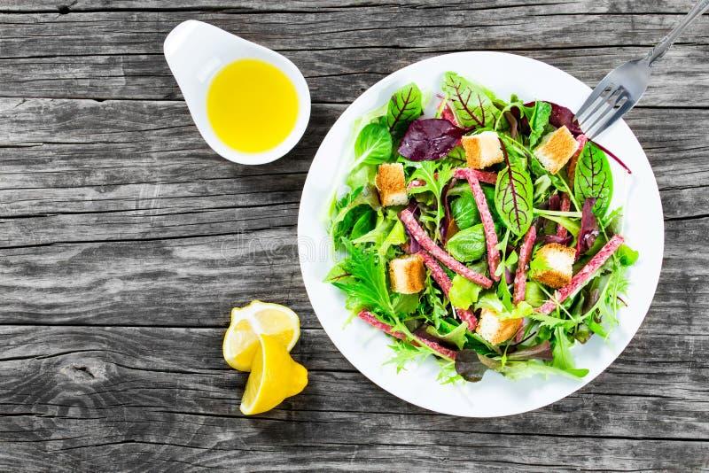 Salada fresca deliciosa do salame e das folhas misturadas da alface - espinafre do bebê, rúcula, acelga em um prato branco na tab fotos de stock