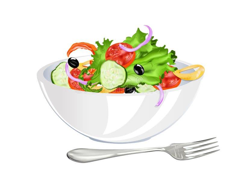 Salada fresca do vegetal do vegetariano ilustração do vetor