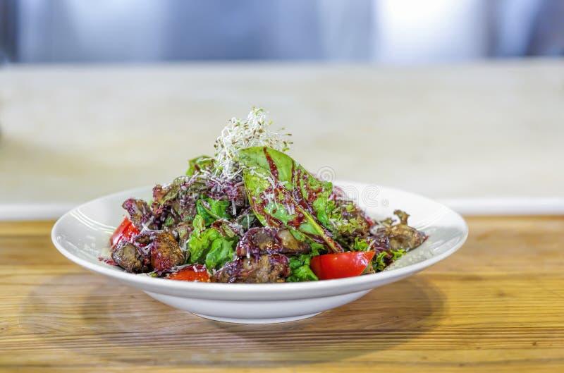 Salada, gras do foie do fígado, verde da salada, restaurante, gourmet, fígado, imagens de stock