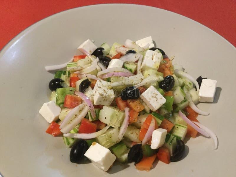 Salada grega fresca delicioso Gourmet do vegetariano fotografia de stock