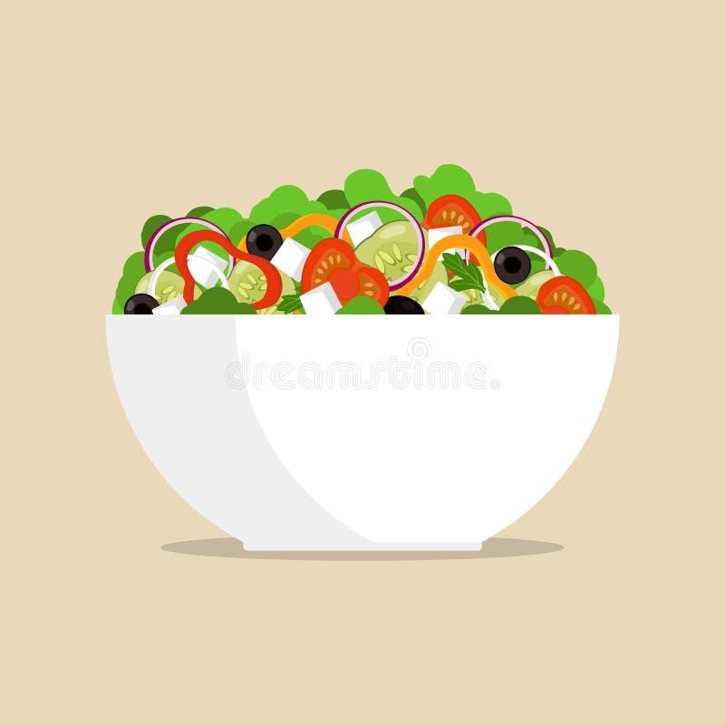 Salada grega fresca na bacia grande, vista lateral O tomate, pimenta doce, cebola, verdes, queijo, azeitonas, pepino, misturou na ilustração stock