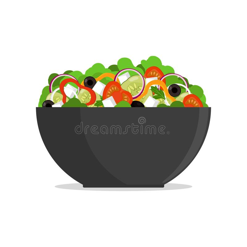 Salada grega fresca na bacia grande, vista lateral O tomate, pimenta doce, cebola, verdes, queijo, azeitonas, pepino, misturou na ilustração royalty free