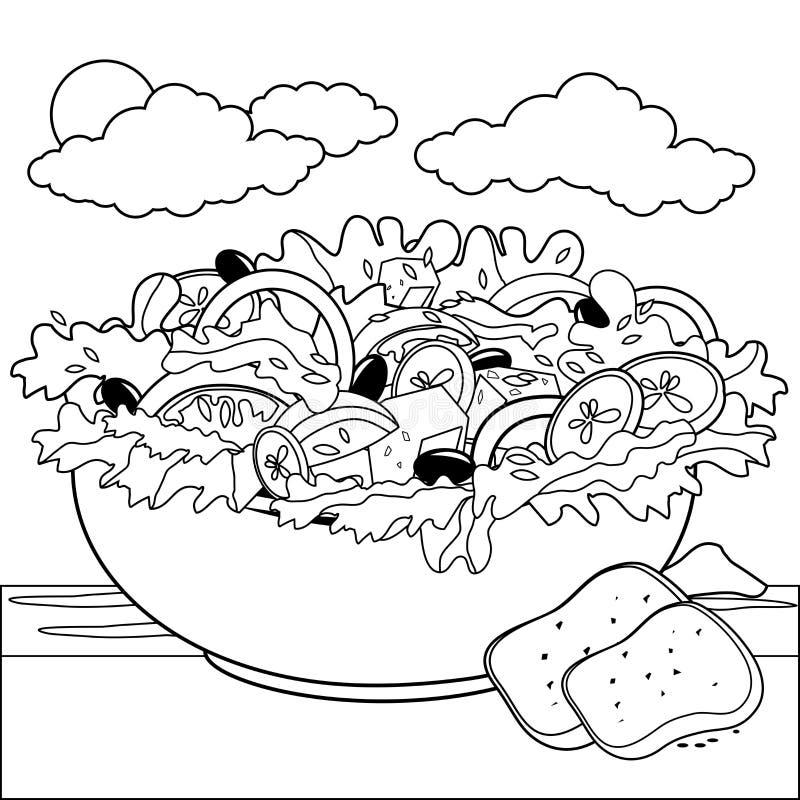 Salada grega Página preto e branco do livro para colorir ilustração royalty free