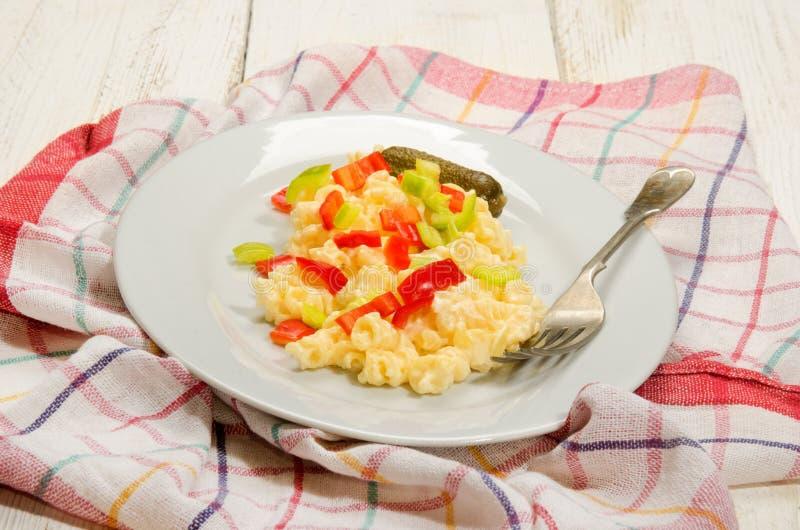 Salada húngara do macarronete do estilo com paprika fotos de stock