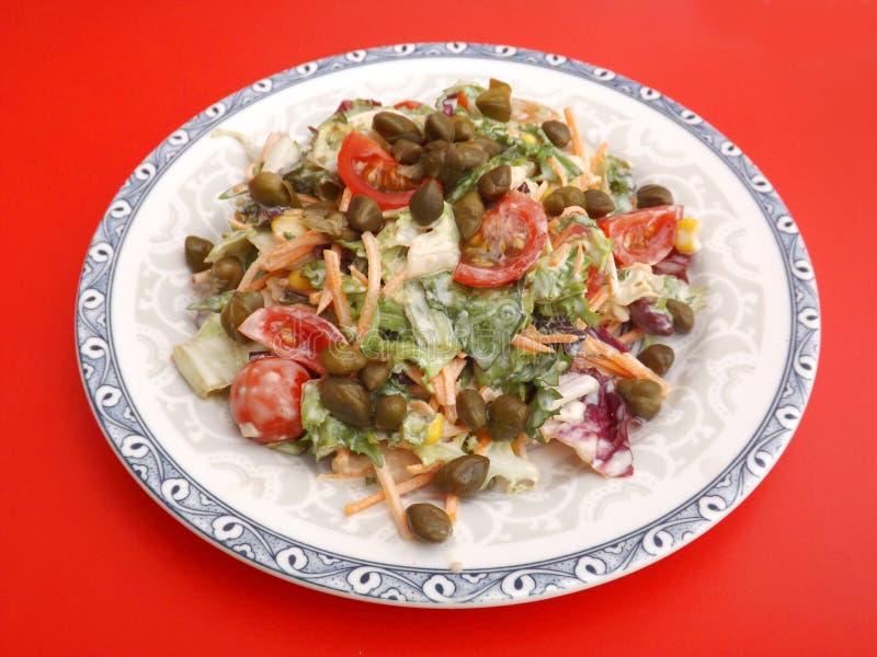 Salada misturada com alcaparras fotografia de stock royalty free
