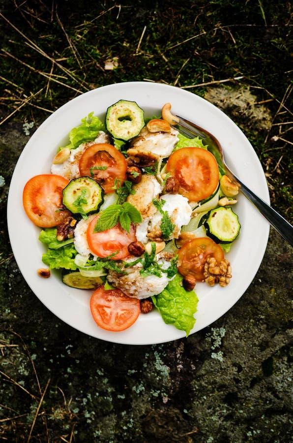 Salada misturada com queijo e os vegetais cozidos de cabra foto de stock royalty free