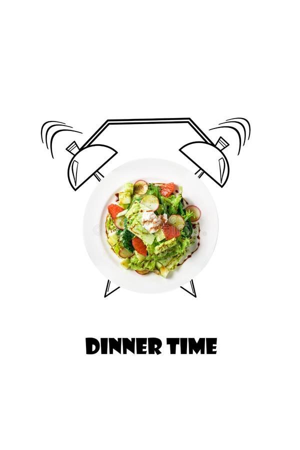 Salada na placa com despertador Conceito do tempo de jantar Ilustração do alimento isolada no fundo branco ilustração do vetor