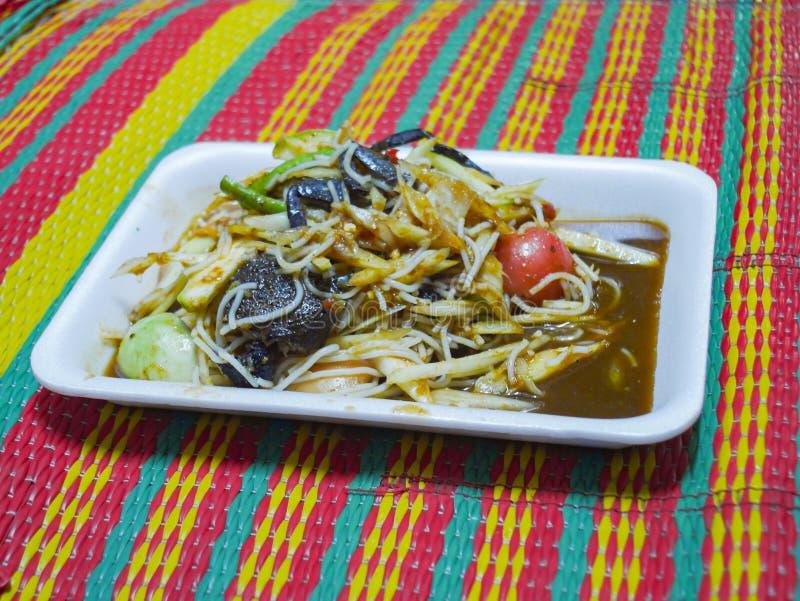 Salada ou somtam da papaia Alimento tailandês - fritada #6 do Stir imagem de stock royalty free