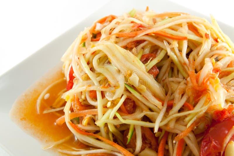 A salada picante da papaia tailandesa ou sabe como o Tum do som imagens de stock