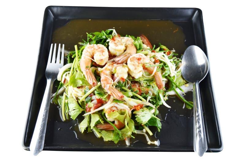 Salada picante do camarão no prato, alimento tailandês imagens de stock