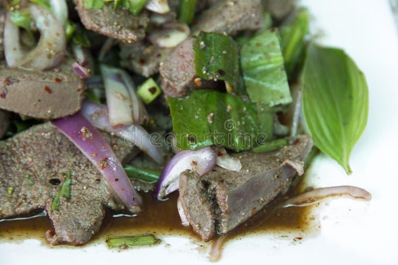 Salada picante do fígado da carne de porco imagem de stock